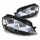 Фары хром с ангельскими глазками 3D JOM для VW GOLF 7
