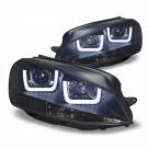 Фары черные с ангельскими глазками 3D JOM для VW GOLF 7